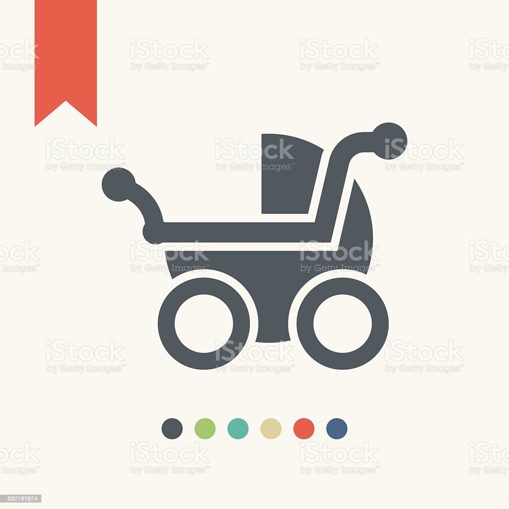 Baby carriage icon vector art illustration