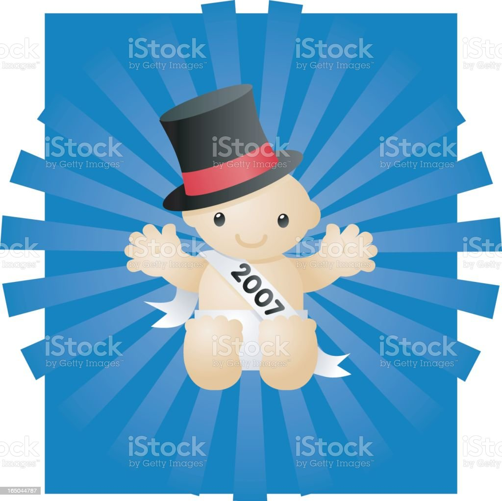 A baby cartoon celebrating the new year 2007 royalty-free stock vector art