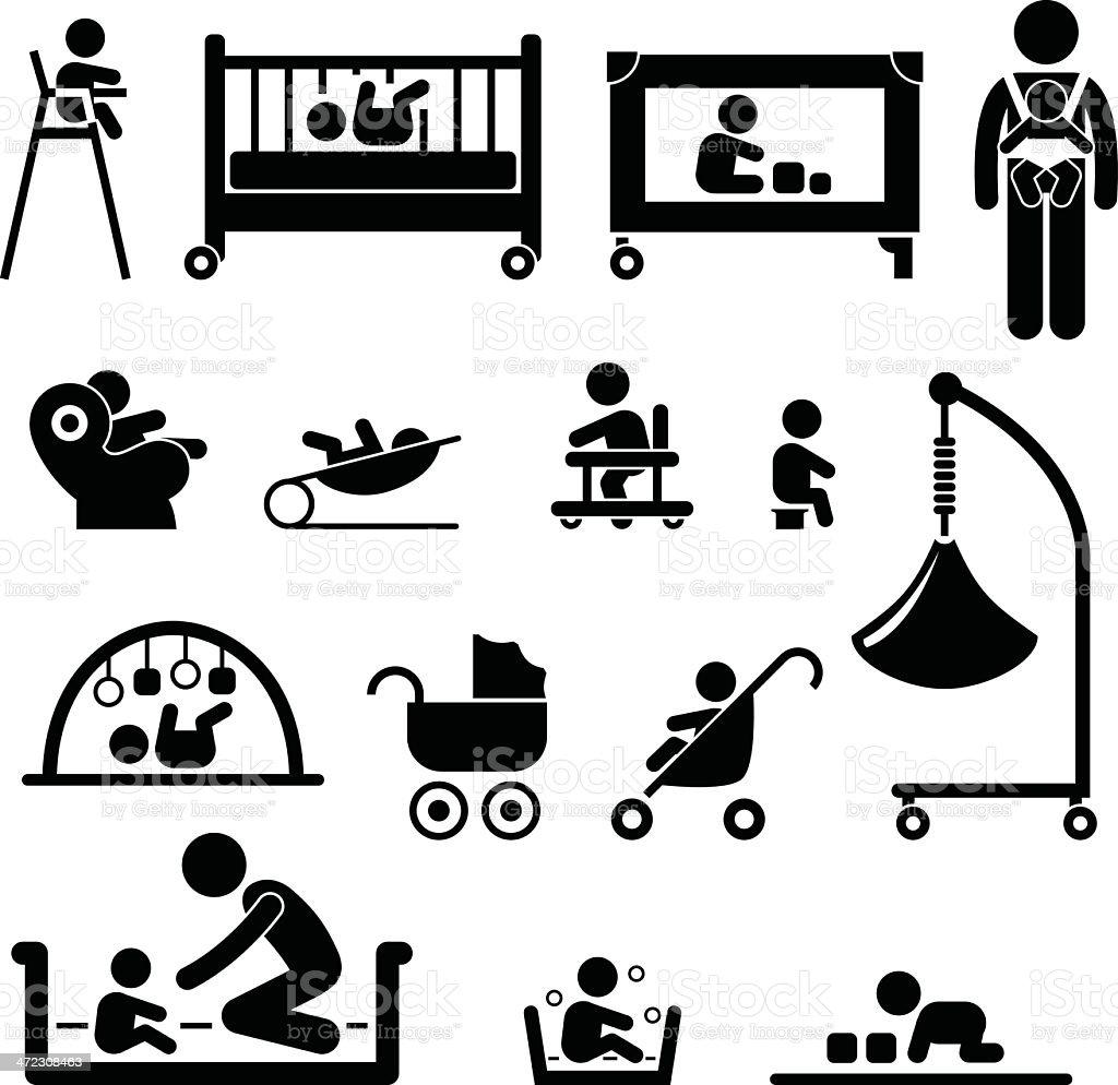 Baby Child Newborn Kid Equipment Pictogram royalty-free stock vector art