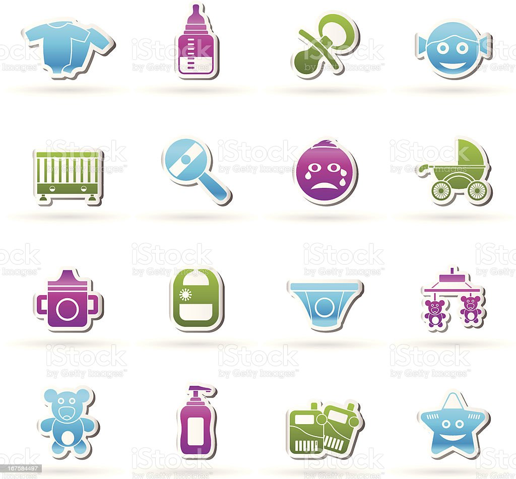 Baby, children and toys icons vector art illustration