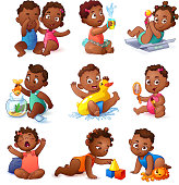 Baby children boys and girls. African American Kids