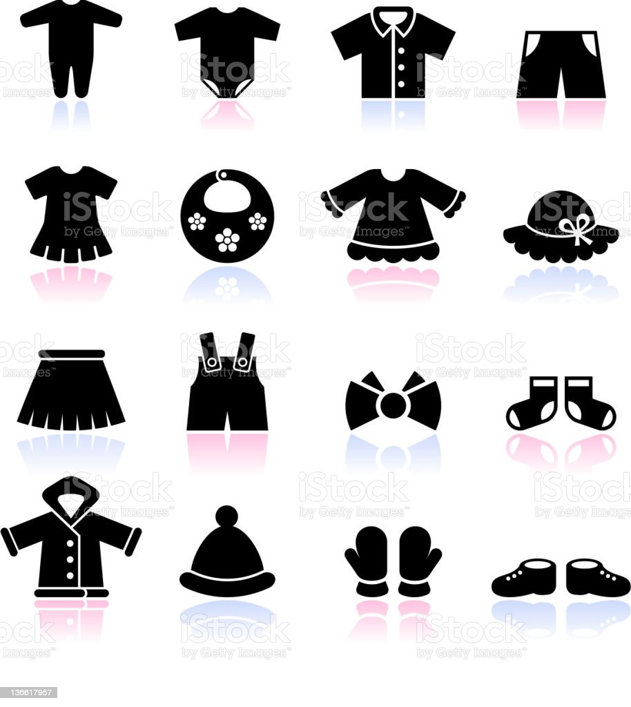 baby clothes black and white icon set vector art illustration
