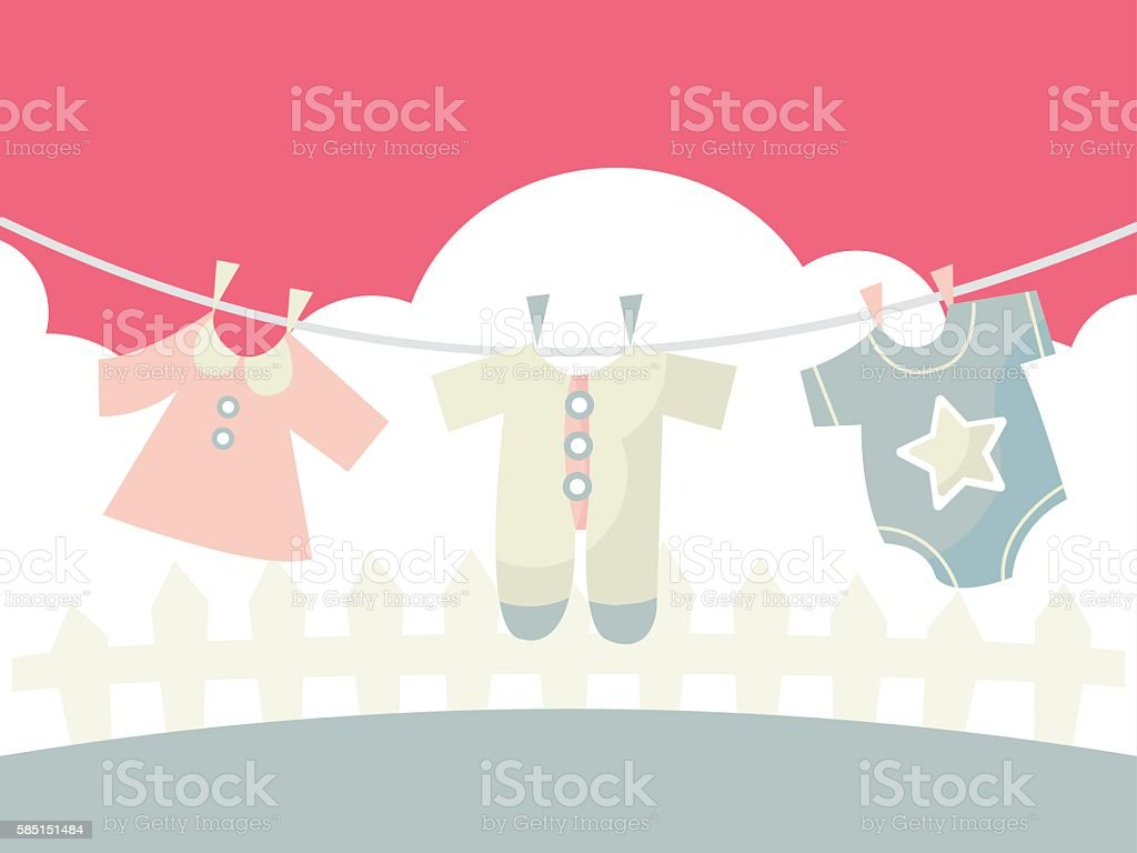 Baby Clothings on Washing line vector art illustration