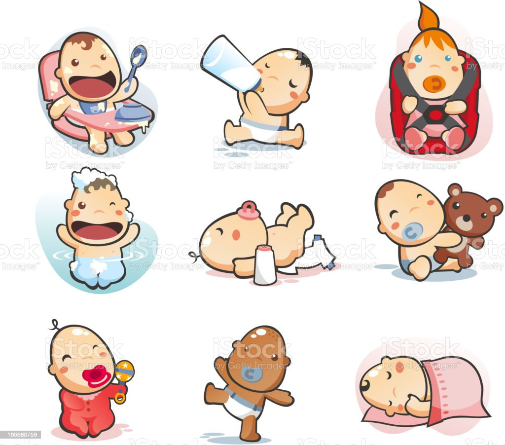 baby collection eating drinking mil sleeping bathing playing walking vector art illustration