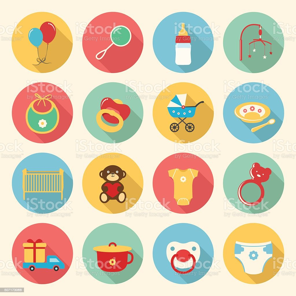 Baby colorful flat design icons set vector art illustration