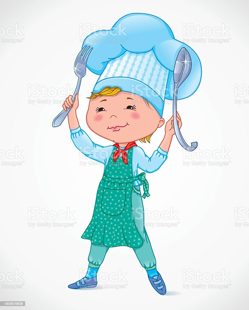 Baby cook with fork and spoon vector art illustration