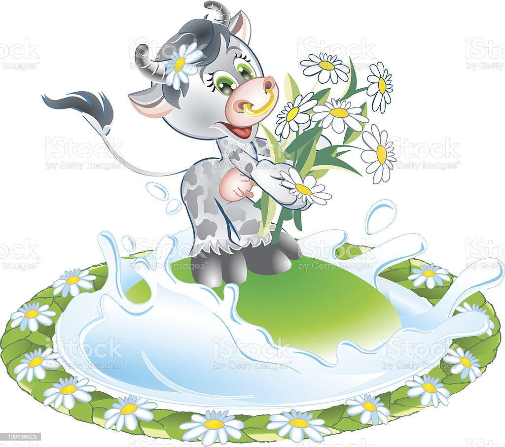 Baby cow with bouquet royalty-free stock vector art