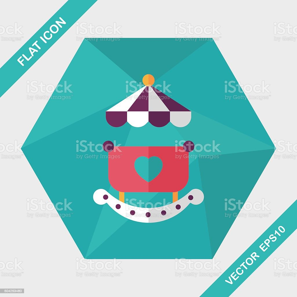 baby cradle bed flat icon with long shadow,eps10 vector art illustration