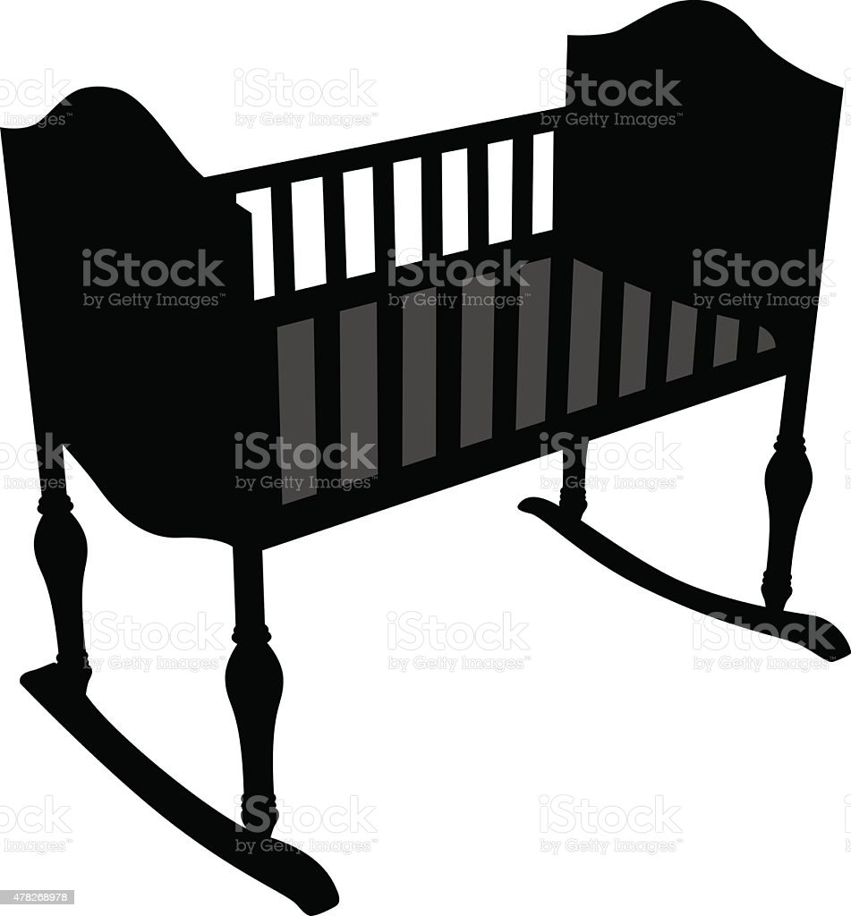 Baby Crib Silhouette vector art illustration