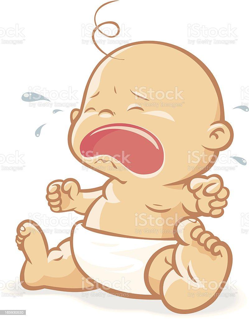 Baby crying vector art illustration