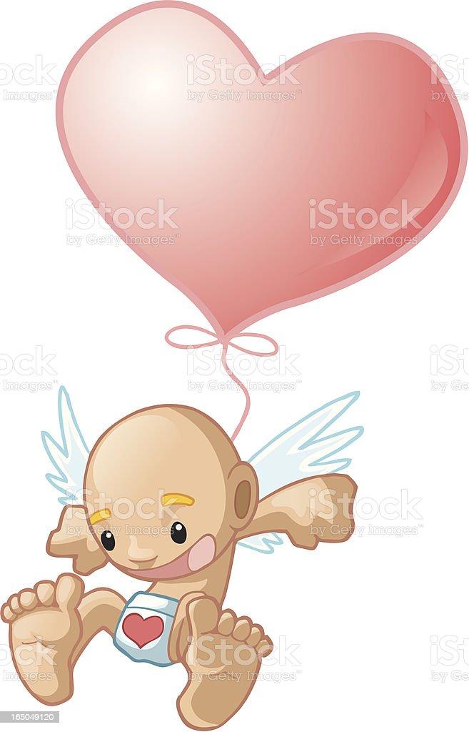 baby cupid balloon ride royalty-free stock vector art