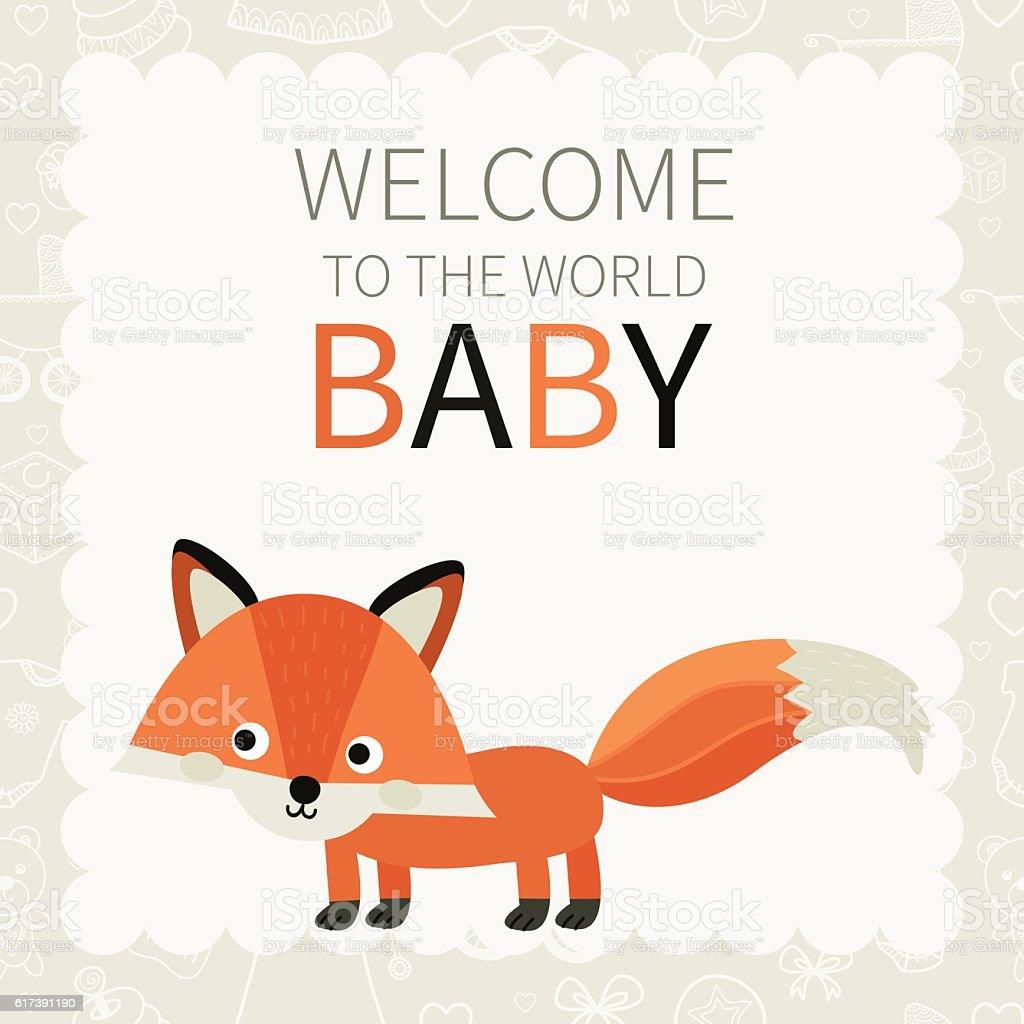 Baby. Cute little fox. vector art illustration