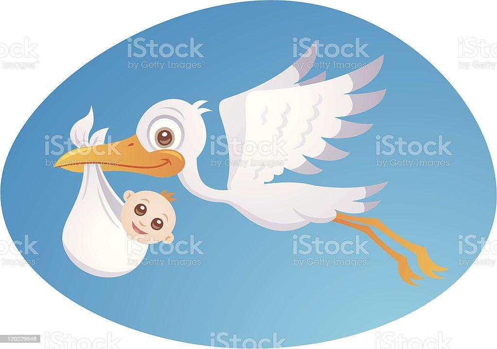 Baby Delivery Stork vector art illustration