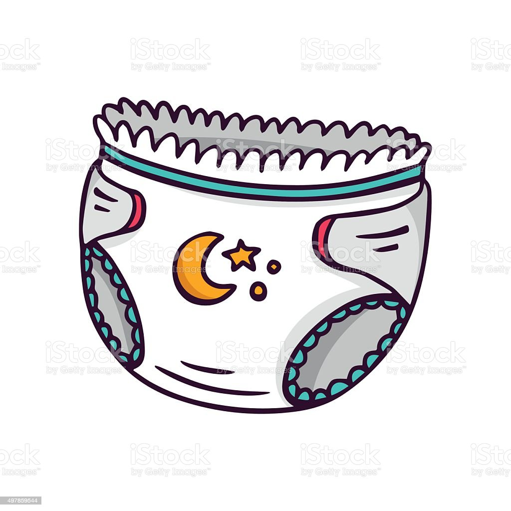 Baby diaper, bright vector children illustration isolated on whi vector art illustration