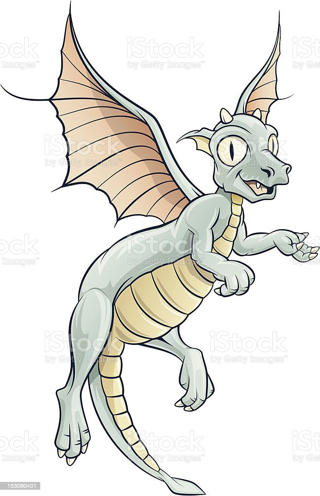 baby dragon vector art illustration