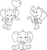 Baby elephant outline characters set