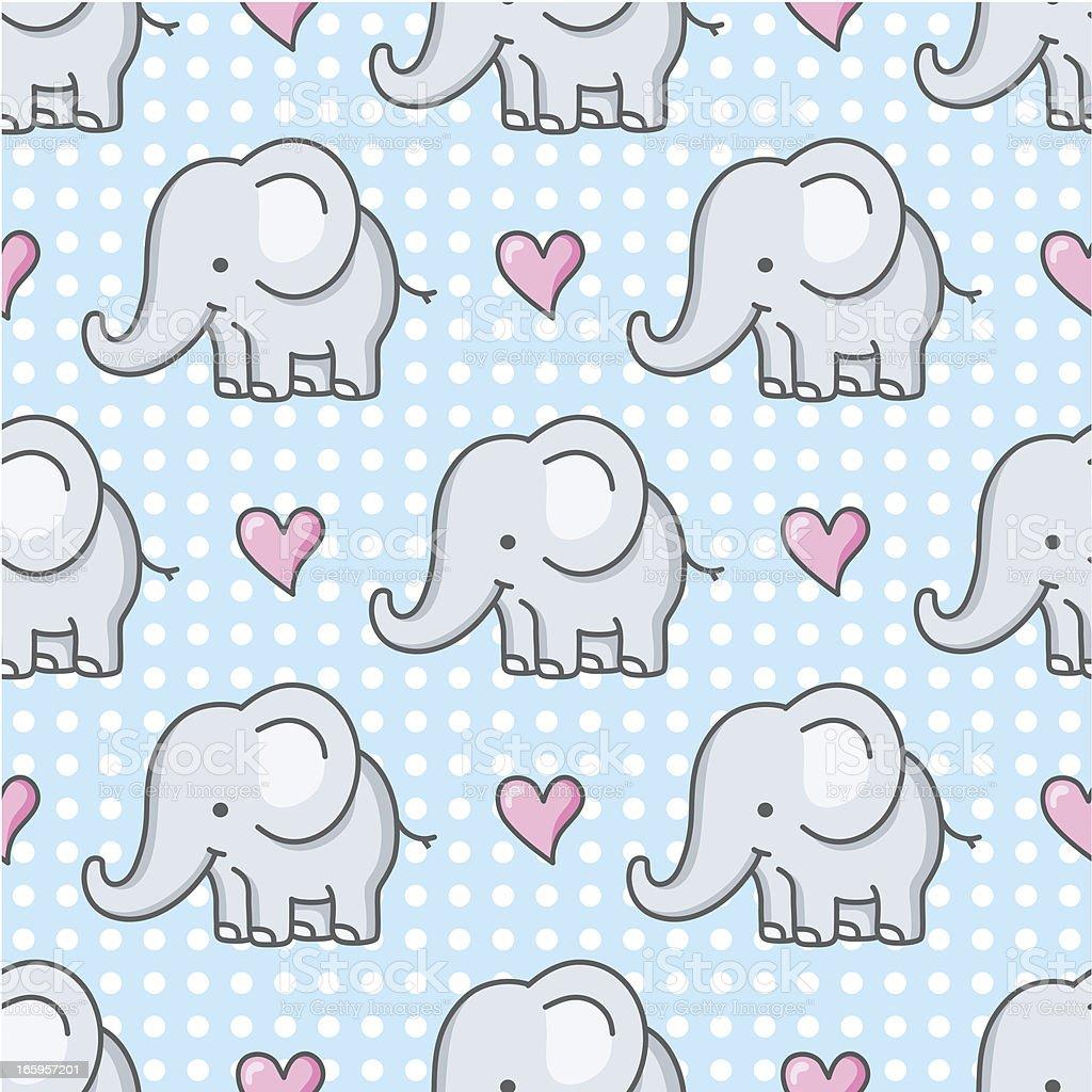 baby elephant seamless pattern / cartoon vector art illustration