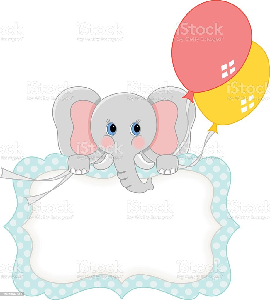 Baby elephant with balloons blank gift tag baby elephant with balloons blank gift tag negle Images