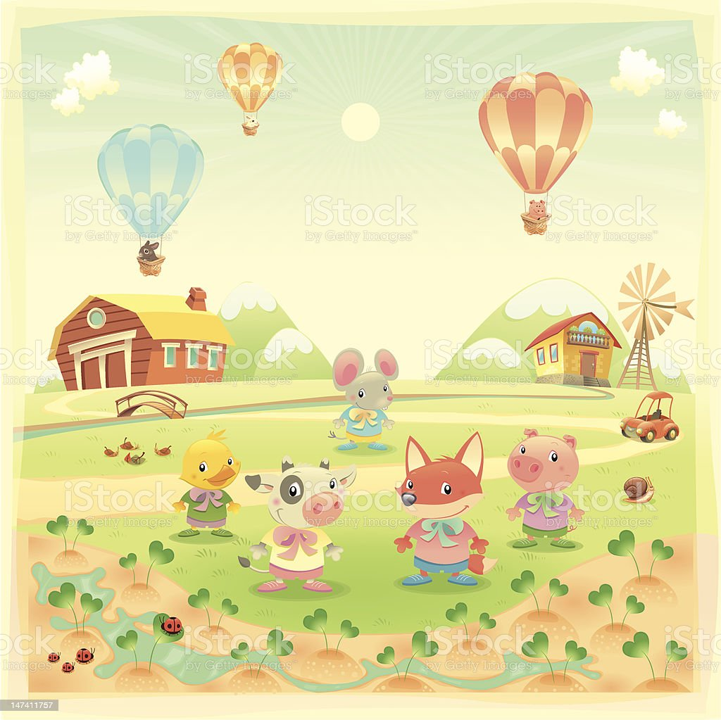 Baby farm animals in the countryside. royalty-free stock vector art