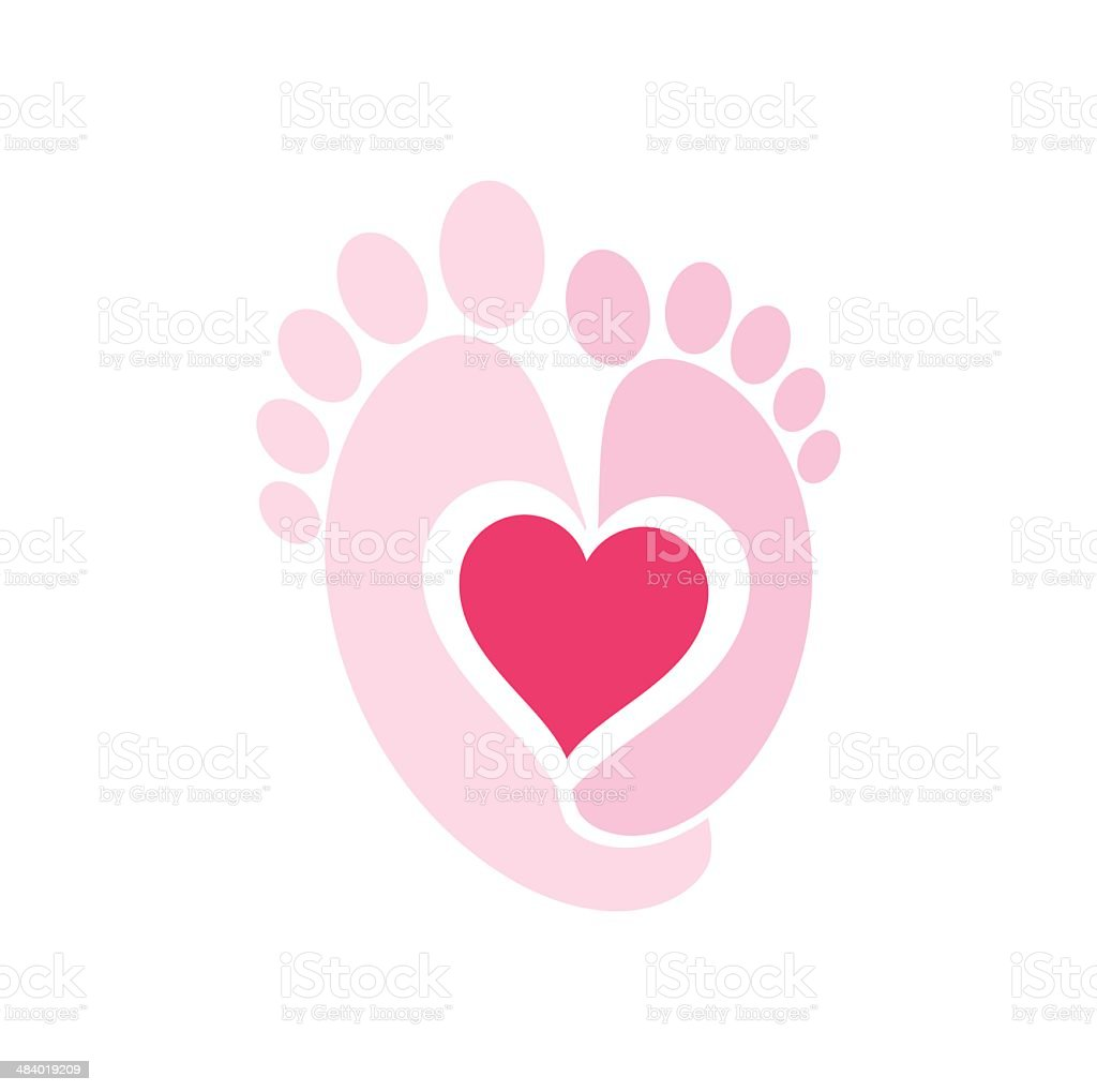 Baby Feet and Heart vector art illustration