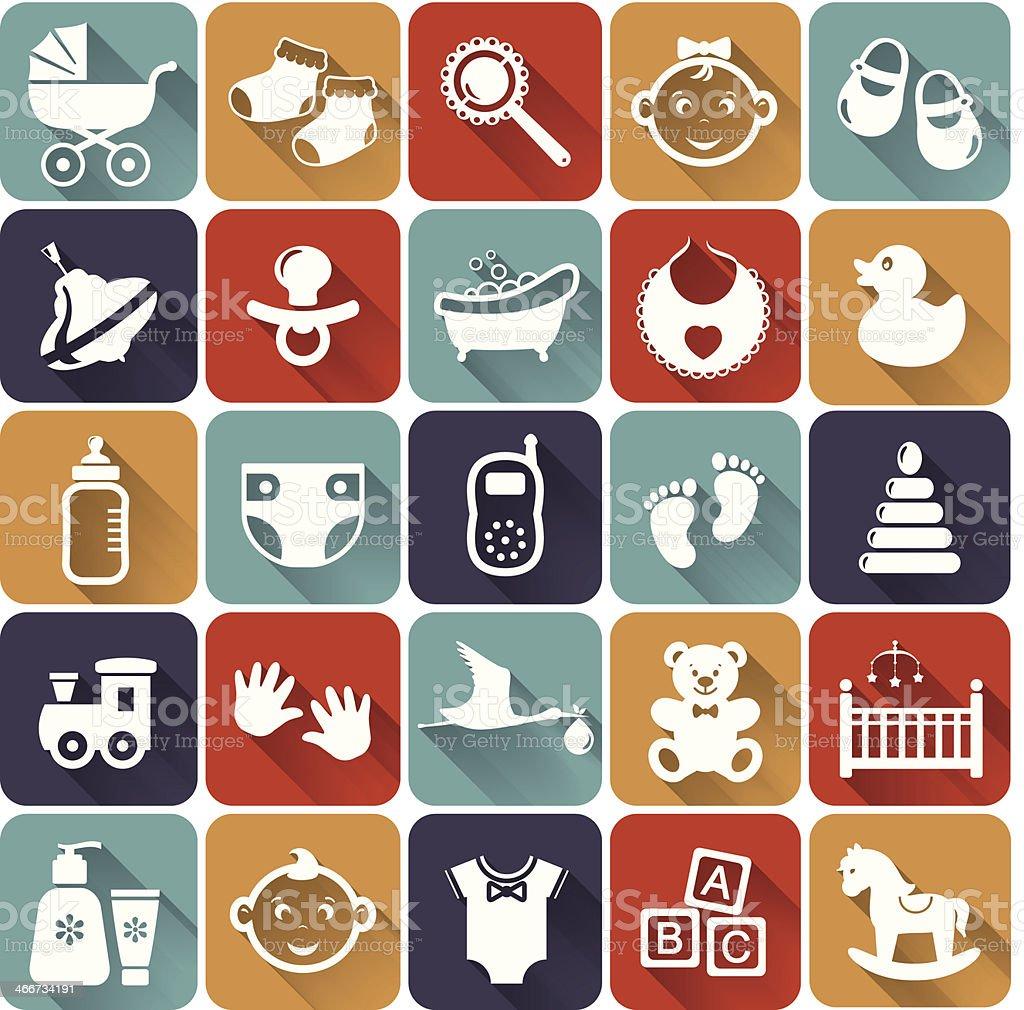 Baby flat icons. Vector illustration. vector art illustration