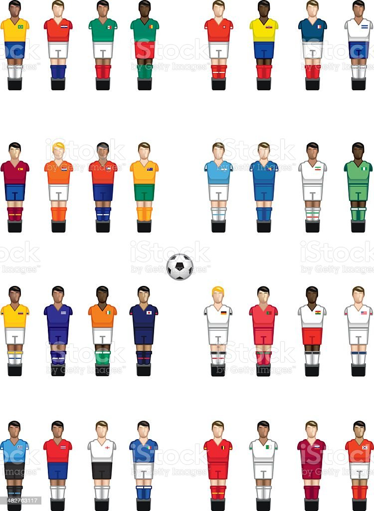 Baby foot international players vector art illustration