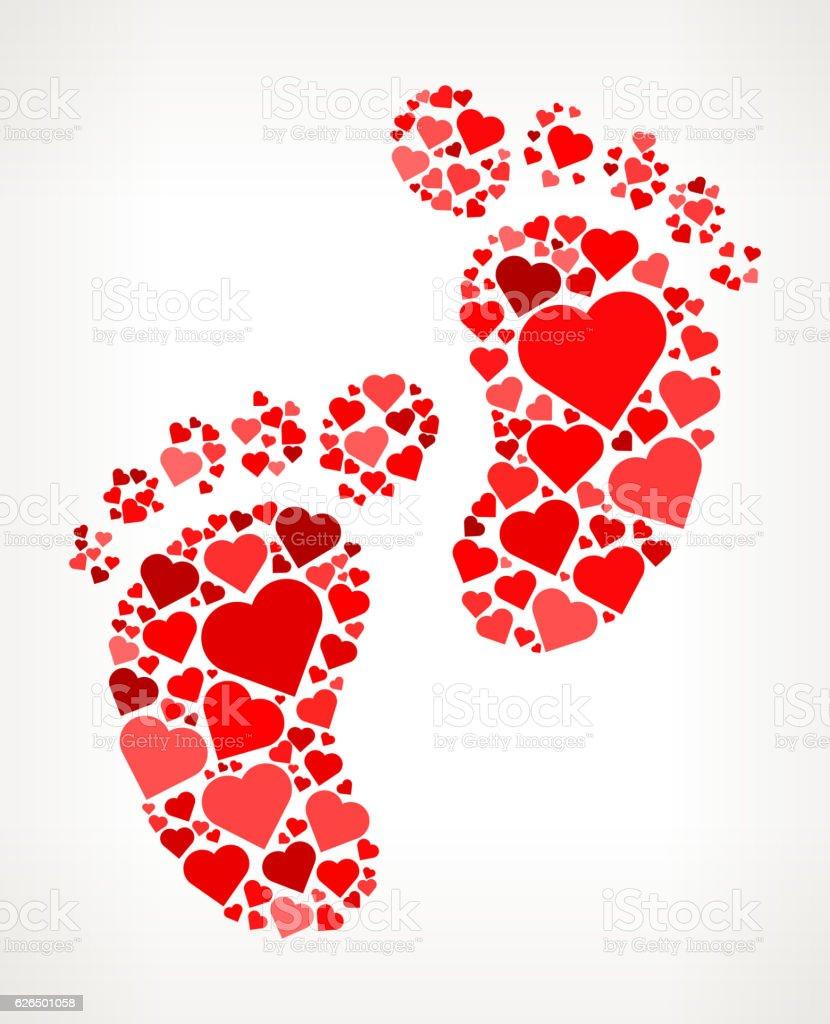 Baby foot Prints Red Hearts Love Pattern vector art illustration