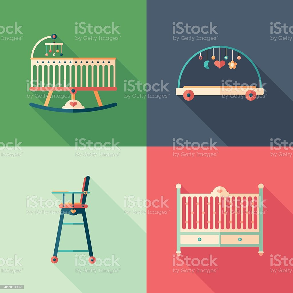Baby furniture flat square icons with long shadows. vector art illustration