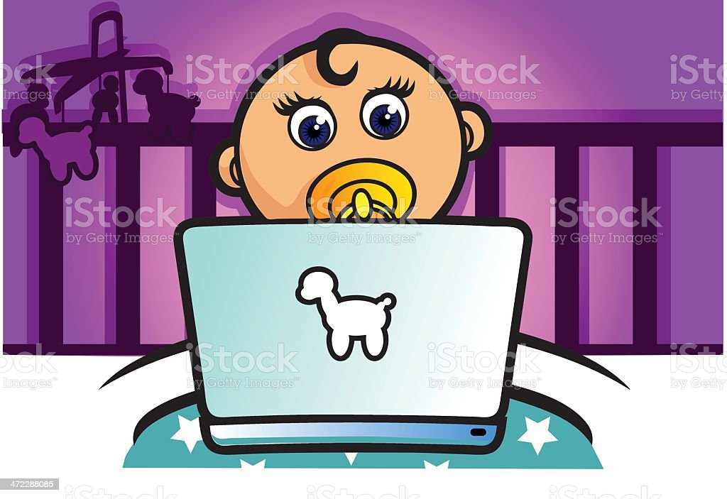 Baby Geek Using a Laptop in the Crib vector art illustration