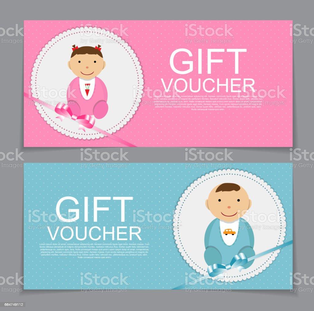 Baby Gift Voucher Template. Vector Illustration. EPS10