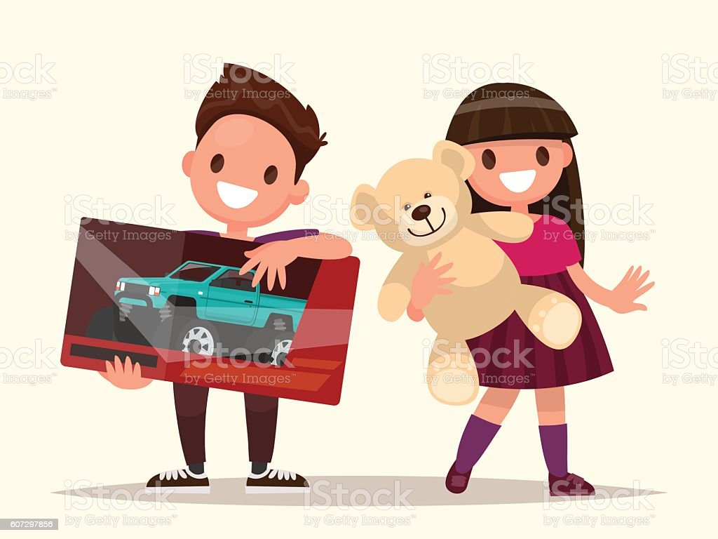 Baby gifts. Children with toys. Vector illustration vector art illustration
