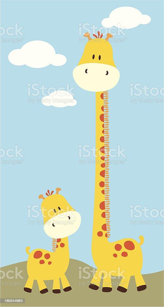 baby giraffe and mom stock photo