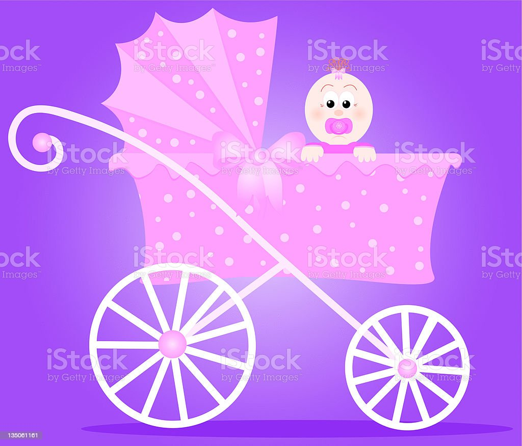 Baby Girl and Carriage vector art illustration