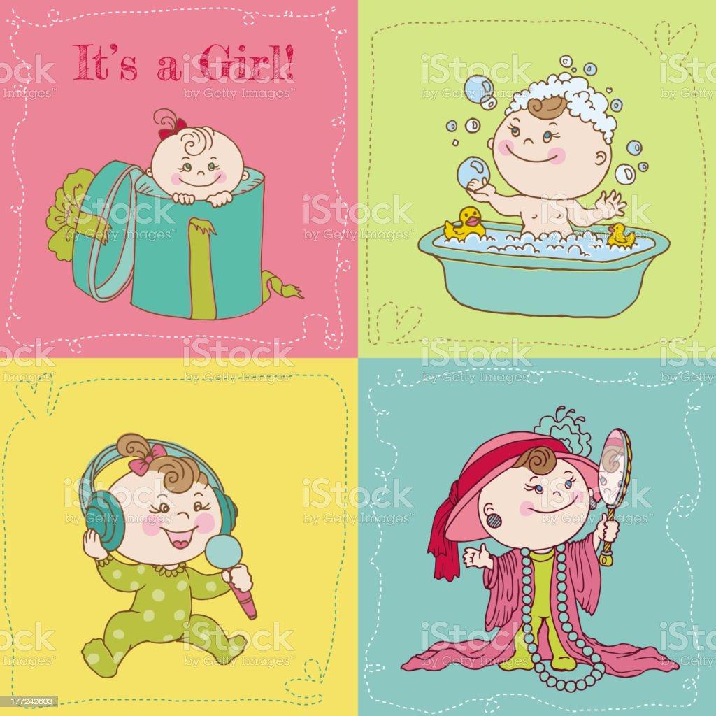Baby Girl Announcement Card Set royalty-free stock vector art