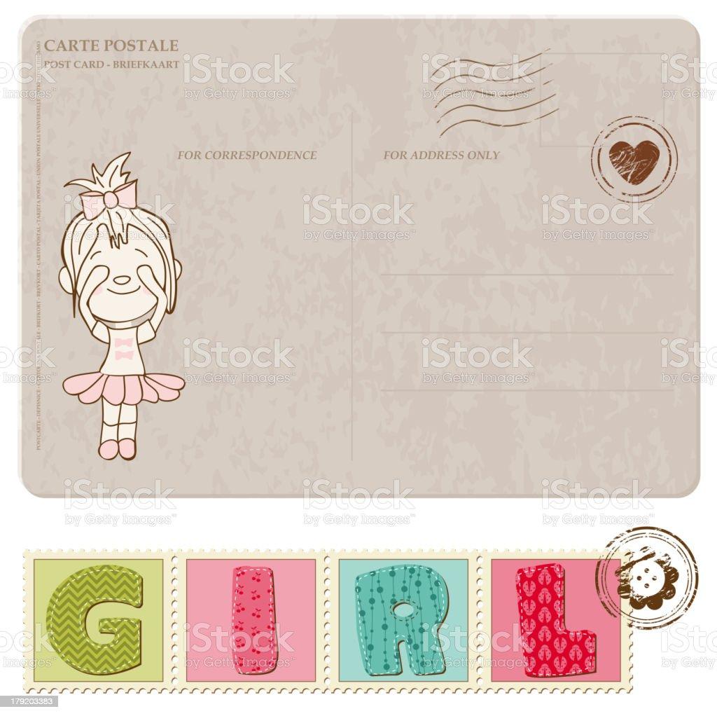 Baby Girl Announcement Card vector art illustration