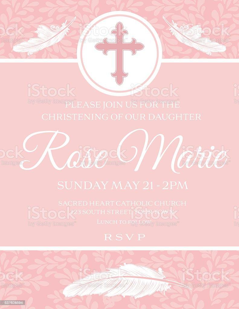 Baby Girl Baptism Or Christening Invitation Template vector art illustration