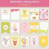 Baby Girl Card Set - for birthday, baby shower, party
