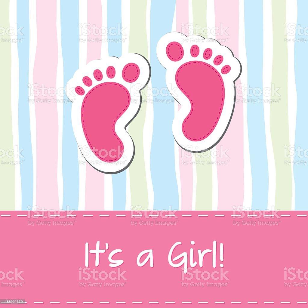 Baby girl card vector art illustration