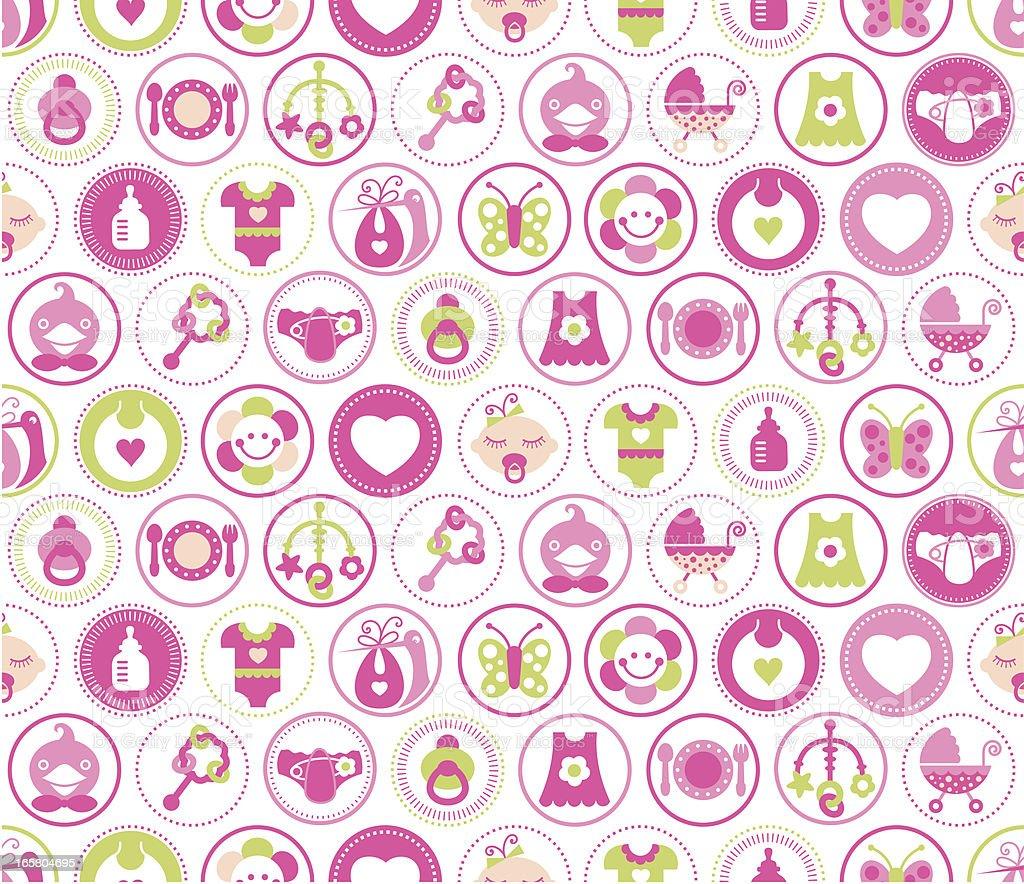 Baby Girl Circles Seamless Pattern royalty-free stock vector art