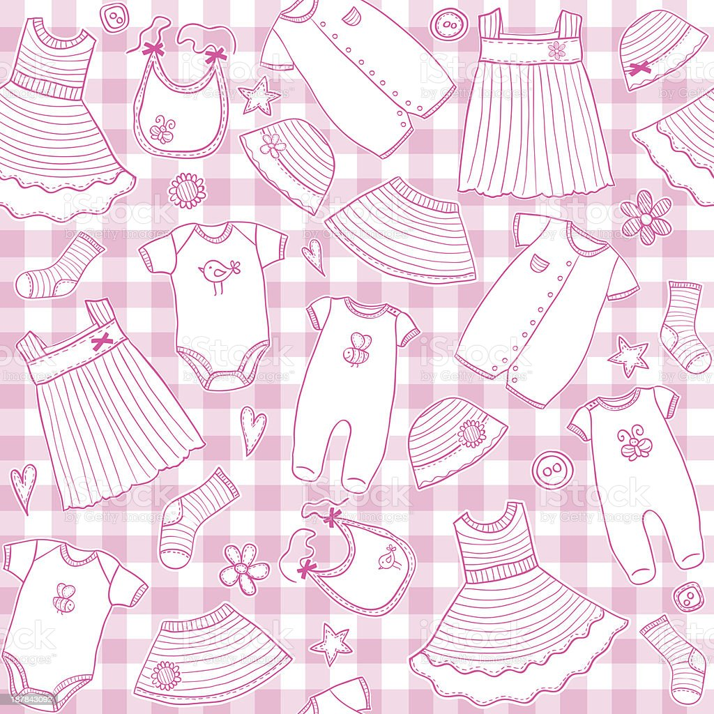 Baby girl clothes seamless pattern royalty-free stock vector art