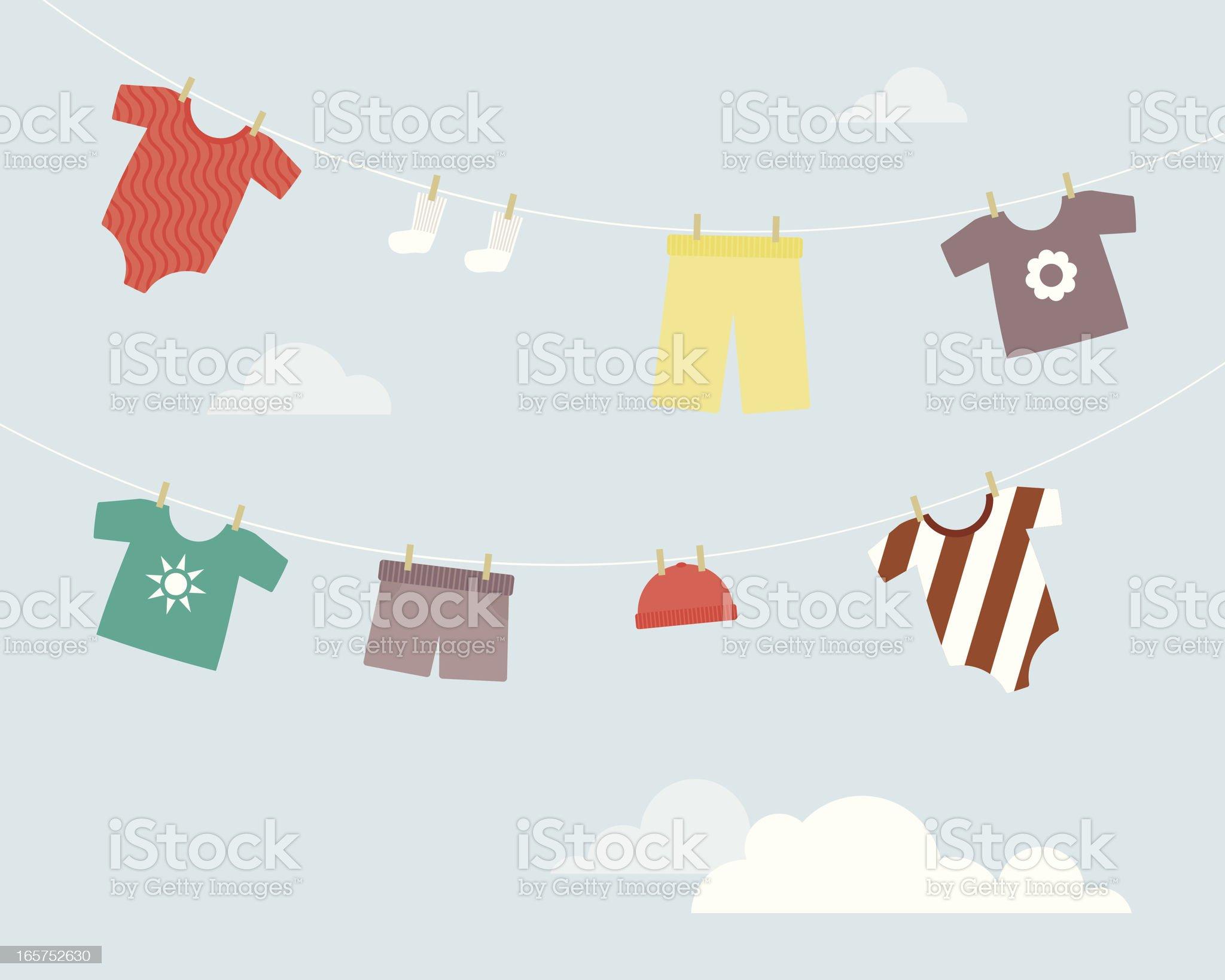 Baby Girl Clothesline royalty-free stock vector art