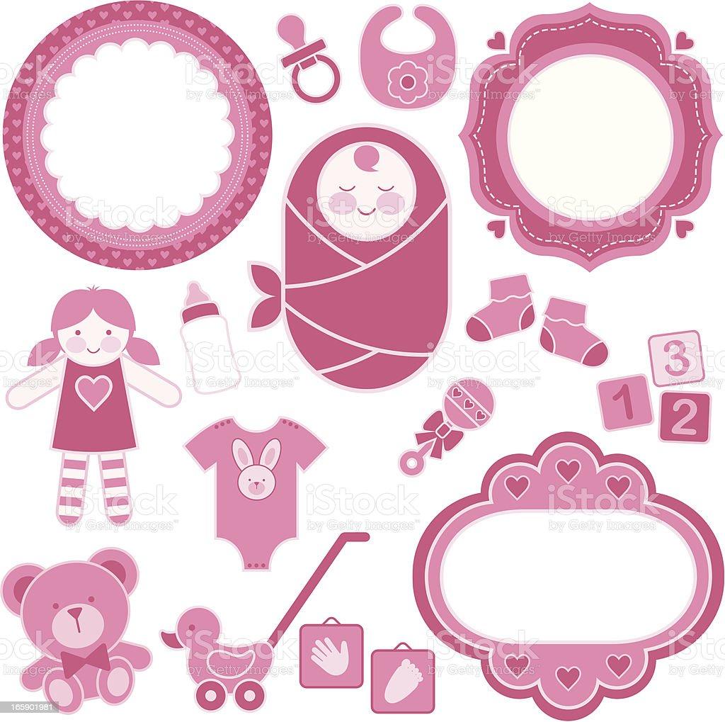 Baby Girl Design Set vector art illustration