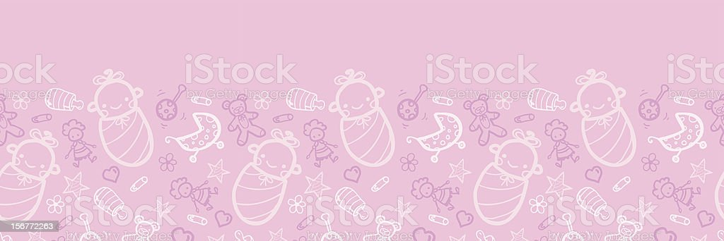 Baby Girl Doodle Horizontal Seamless Pattern Ornament royalty-free stock vector art