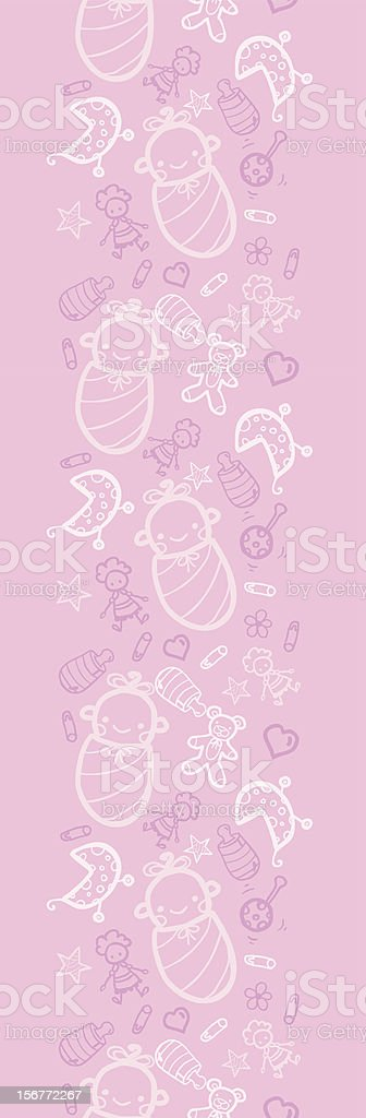Baby Girl Doodle Vertical Seamless Pattern Ornament royalty-free stock vector art