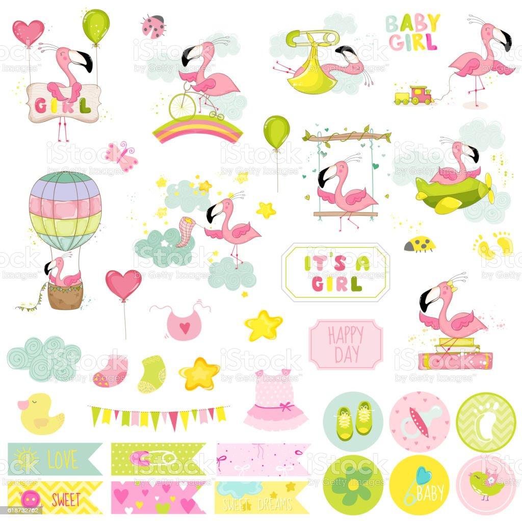 How to scrapbook for baby girl - Baby Girl Flamingo Scrapbook Set Vector Scrapbooking Decorative Elements Royalty Free Stock Vector