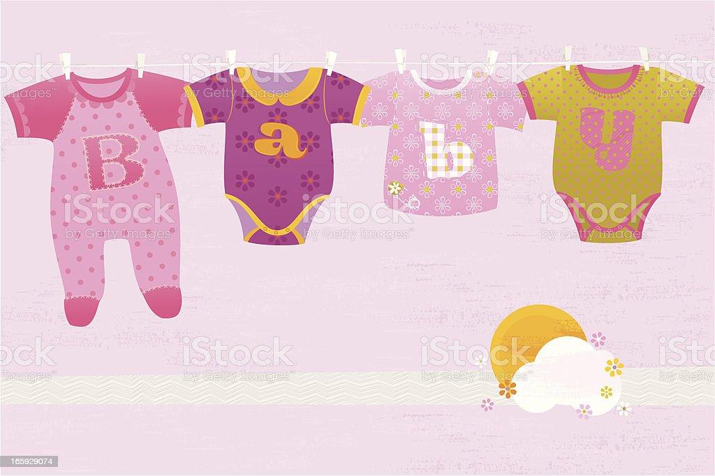 Baby Girl Greeting Card royalty-free stock vector art
