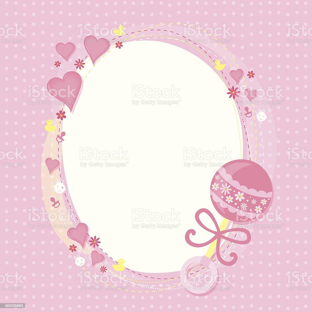 Baby girl greetings vector art illustration