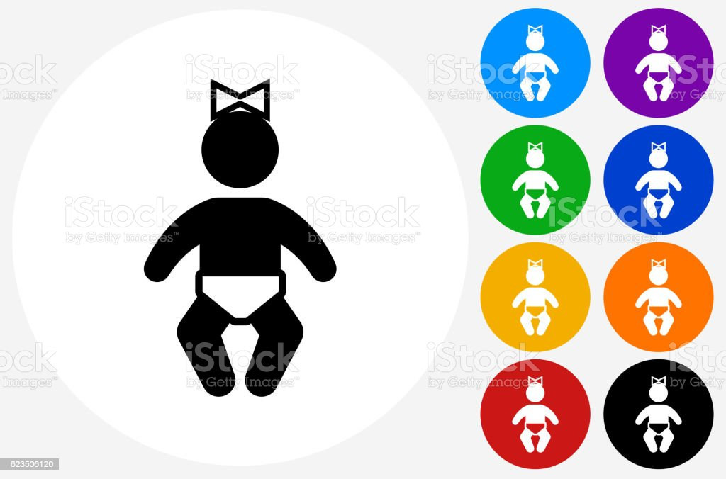 Baby Girl Icon on Flat Color Circle Buttons vector art illustration