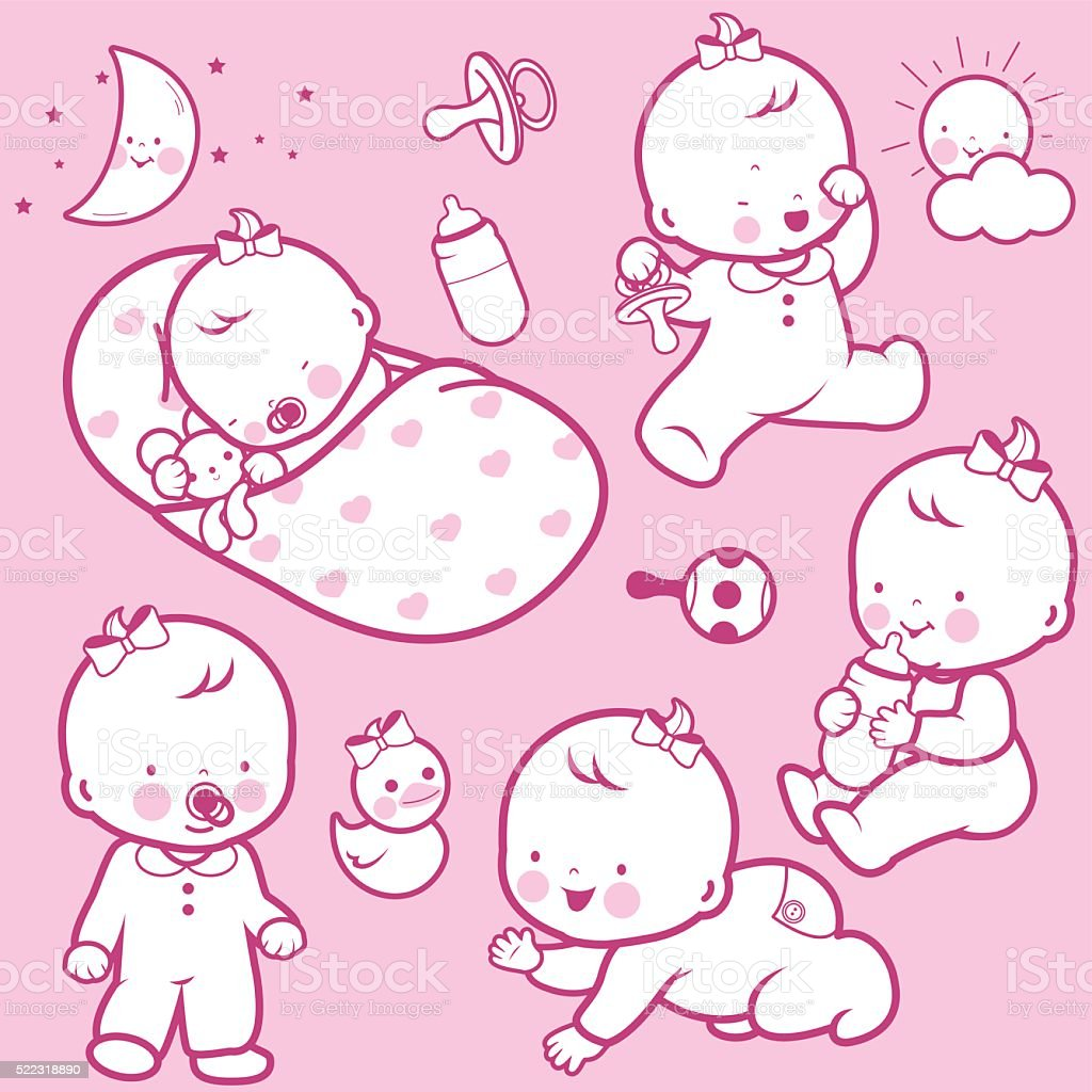 Baby girl icons vector art illustration
