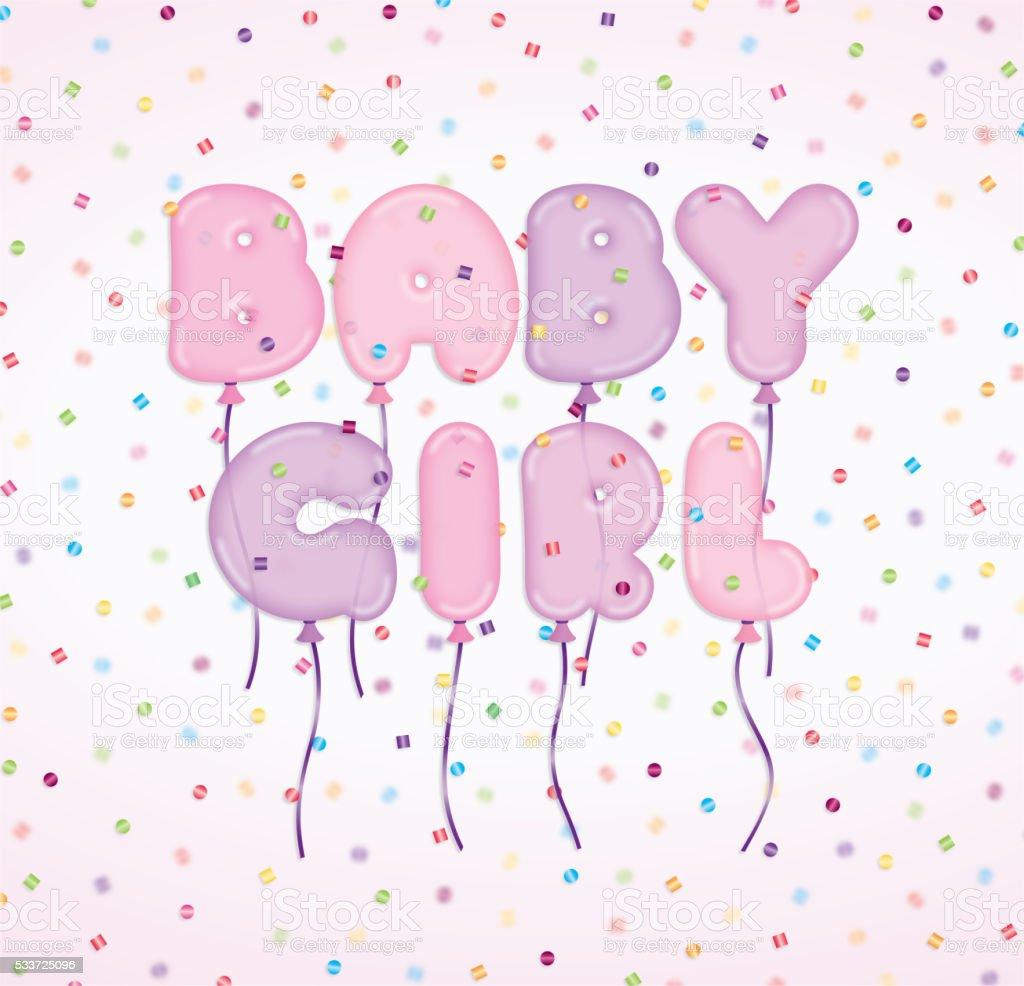 Baby Girl Newborn Announcement Celebration Invitation Balloons C – Announcement of Baby Girl